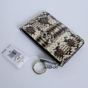 Michael Kors Fulton Coin Pouch ID Key Ring Natural